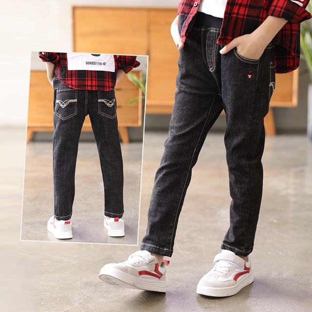 6cb669fa4fcf Children P For Boys Skinny Fit Elastic Waist Baby Boy Jeans Black Blue  Color Kids Jeans For 4 6 8 10 12 Boys Kids Trousers