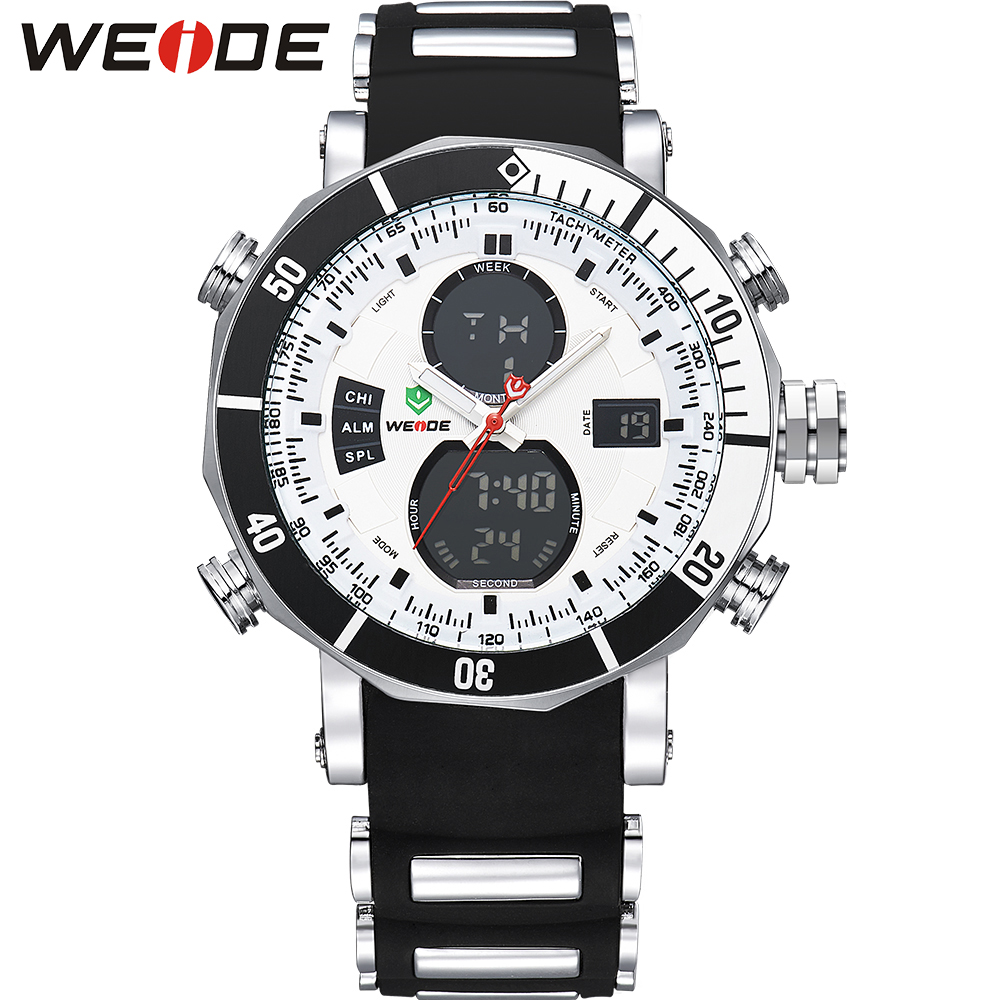 WEIDE Men Sports Watches Stopwatch Date Day Military Quartz Digital Watch Alarm Stopwatch Dual Time Zones relogios masculinos weide wh2309b military sports quartz watch double movts analog digital led dual time display alarm wristwatch for men