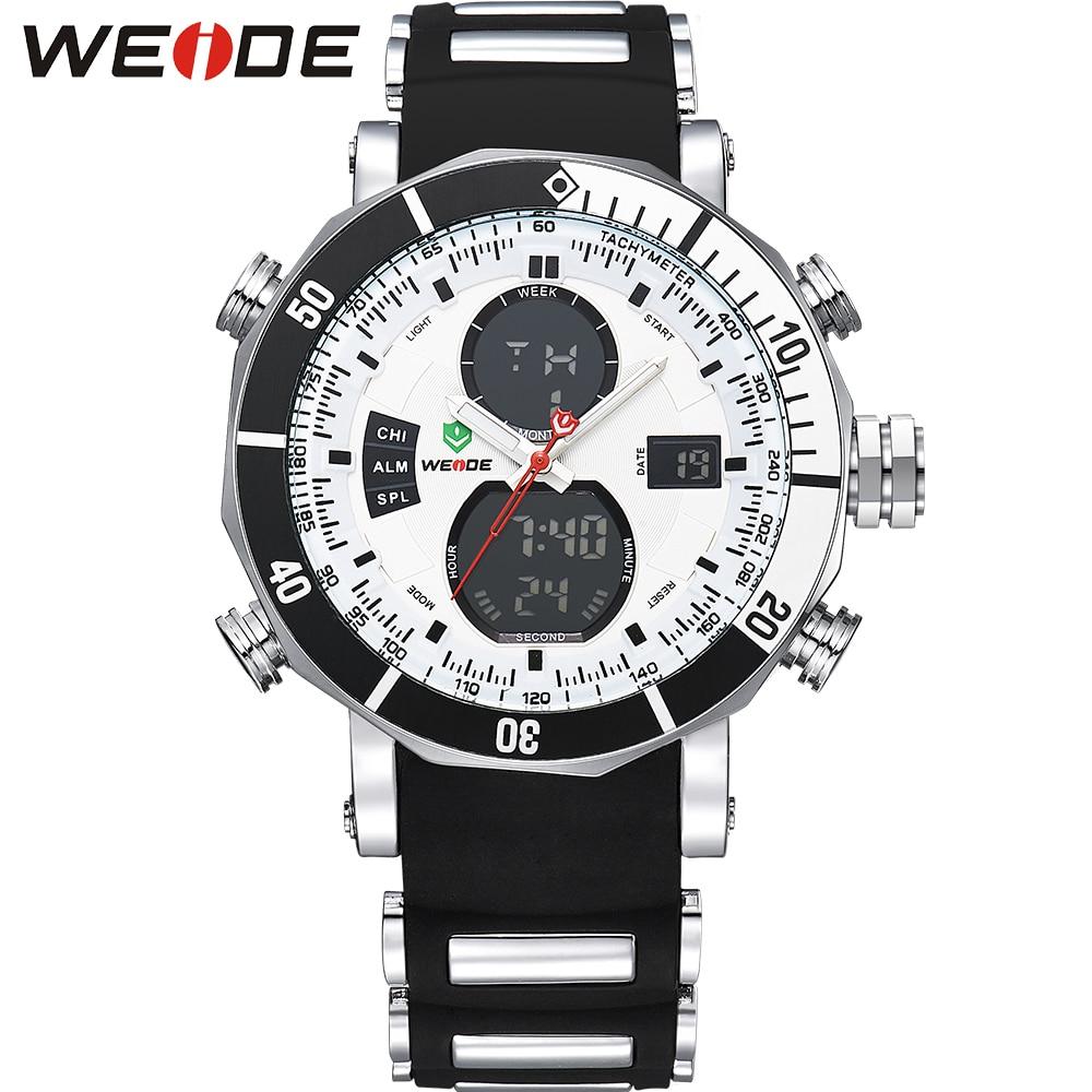 WEIDE Sports Watches Stopwatch Date Day Military Quartz Digital Watch Alarm Dual Time Zones Relogio Masculino Men Male Clock