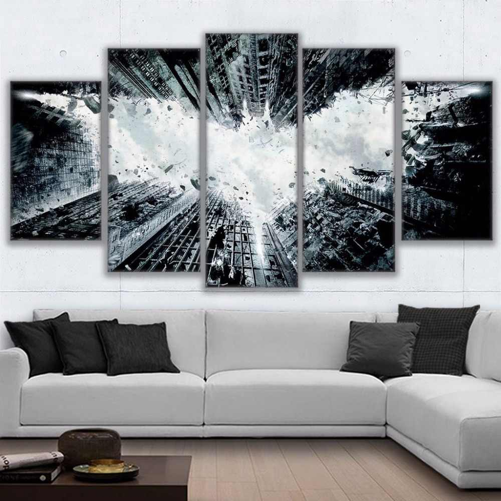 Modern Home Decor Canvas Print Poster Framework Painting 5 Panel Batman Abstract Wall Art For Living Room Modular Picture