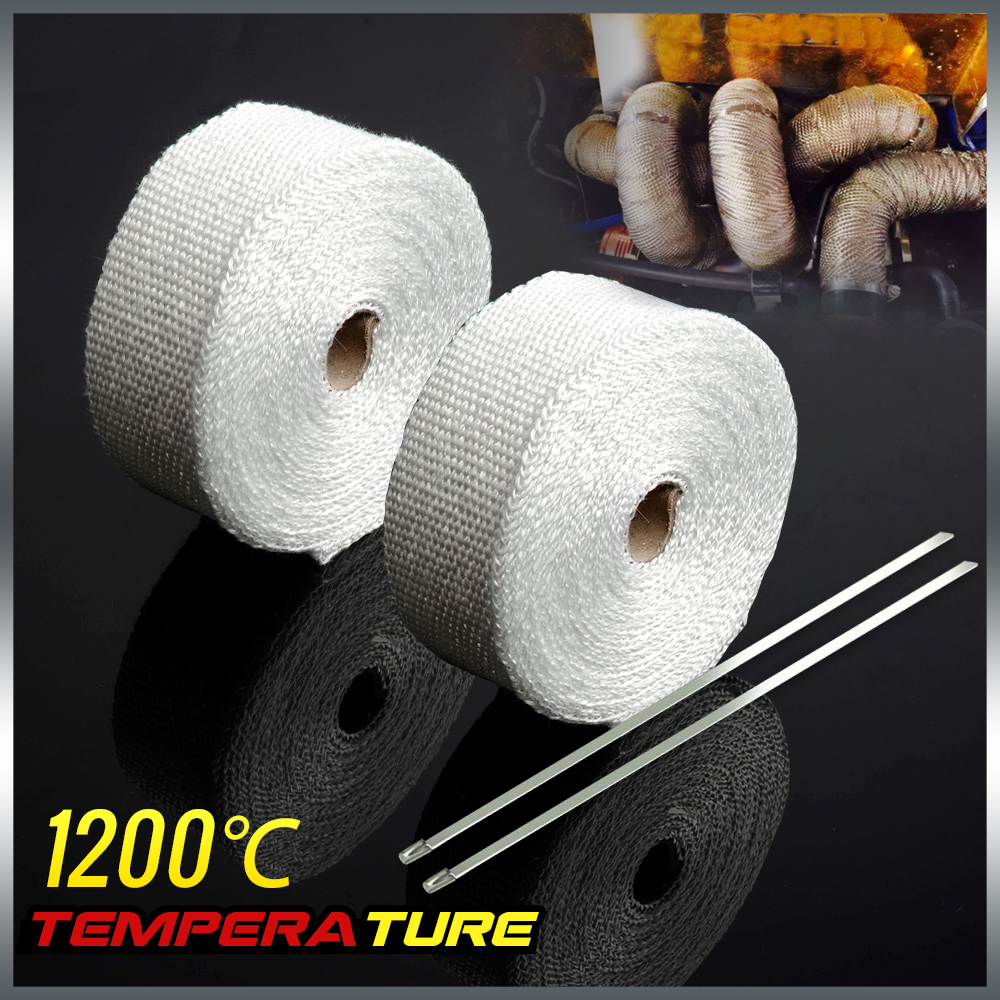 Free Shipping 2 * Car Motorcycle 10m Exhaust Heat Wrap Turbo Pipe Heat Insulated + Cable Ties White