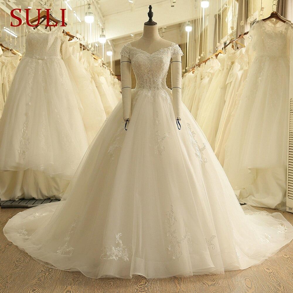 SL-9012 Vintage Off the Shoulder Wedding Dress Lace Up Back Applique Bridal Ball Gowns 2018(China)