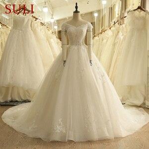 Image 1 - SL 9012 Vintage Off the Shoulder Wedding Dress Lace Up Back Applique Bridal Ball Gowns 2018