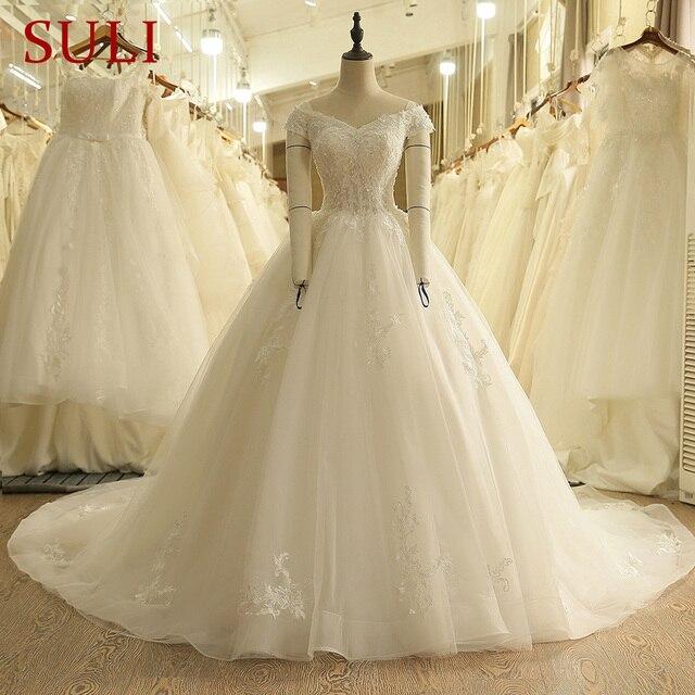 SL 9012 Vintage Off the Shoulder Wedding Dress Lace Up Back Applique Bridal Ball Gowns 2018
