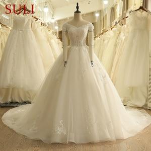 Image 1 - SL 9012 Vintage Weg Von der Schulter Hochzeit Kleid Lace Up Zurück Applique Braut Ballkleider 2018