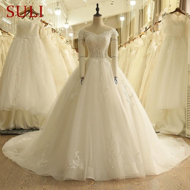 SL 9012 Vintage Weg Von der Schulter Hochzeit Kleid Lace Up Zurück Applique Braut Ballkleider 2018