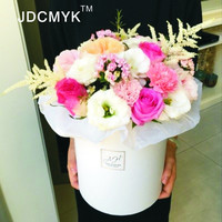 Size 19 5X23 5cm Flowers Box Pure Color Round Box Cardboard Boxes Gift Packing 2016 Hot