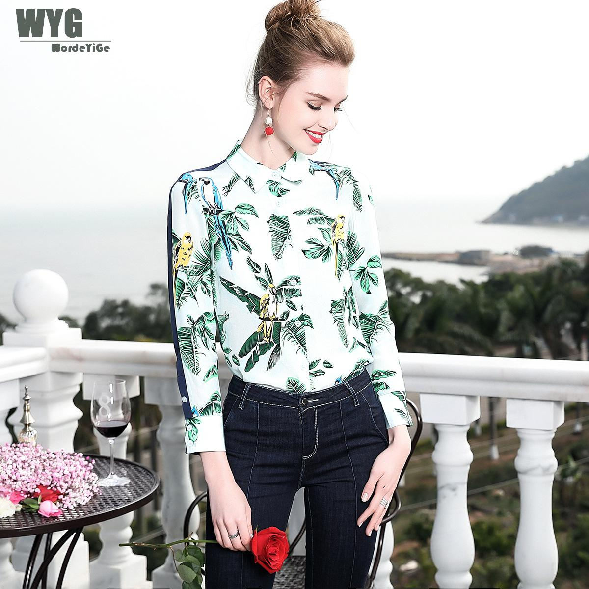 WYG Women Luxury Blouse 2018 Spring New Banana Leaf Birds Printed Long Sleeve Contrasting Red Blue Patchwork Fashion Silk Shirts kiind of new blue women s xl geometric printed sheer cropped blouse $49 016