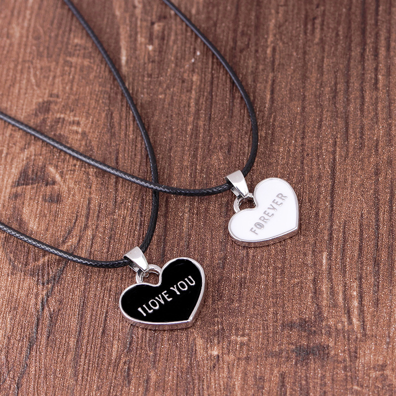 """I Love You Forever"" Black And White Drop Oil Love 1 Set Necklace Couple Pendant Creative Necklace Wholesale Hot"