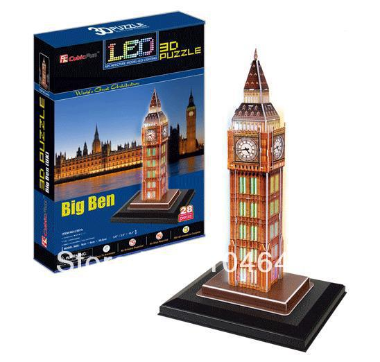 Big Ben with LED light CubicFun 3D educational puzzle Paper & EPS Model Papercraft Home Adornment for christmas gift colosseum cubicfun 3d educational puzzle paper
