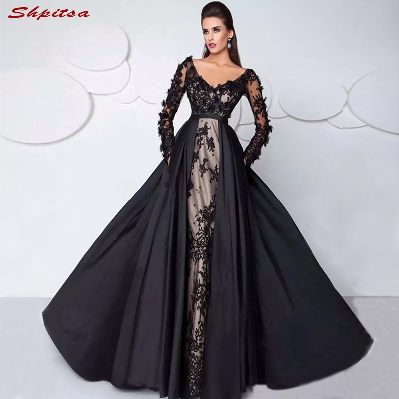Black Long Sleeve Lace Mother of the Bride Dresses for Weddings Plus Size  Beaded A Line Evening Gowns Groom Godmother 2018