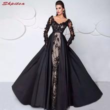 Vestidos negros de manga larga de encaje para madre de la novia para Bodas de talla grande con cuentas una línea vestidos de noche novio madrina 2018