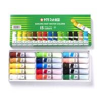 Sakura 12/15/18/24 color transparent watercolor paint green box paint comic watercolor paint 12ml