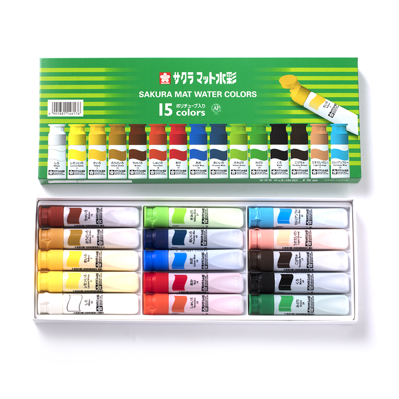 Sakura 12/15/18/24 color transparent watercolor paint green box paint comic watercolor paint 12ml sakura watercolor 12 15 18 colors 12ml pigment translucent easy to wash additional gold silver color yellow box art set