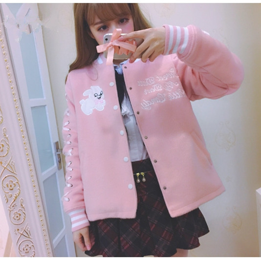 Bunny Sweet Lolita Jackets Kawaii Rabbit Soft Sister Girly Girl Cute Japanese Women Harajuku Baseball Ribbons Sleeves Overcoat