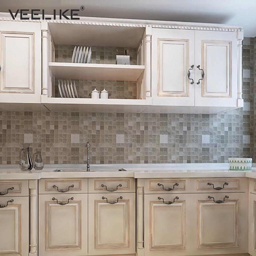 Mosaic Tiles Vinyl PVC Self Adhesive Wallpaper For Bathroom Waterproof Home Decor Kitchen Backsplash Anti Oil Contact Paper DIY