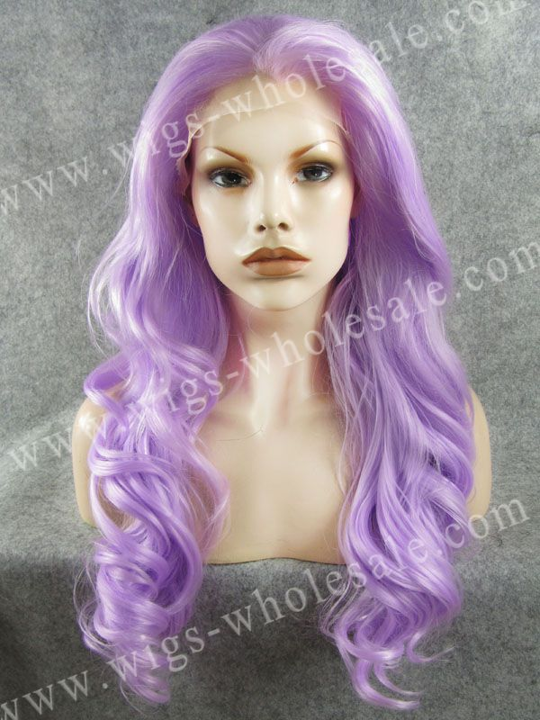 ФОТО Popular Long Body Wavy Light Purple Cosplay Wig Synthetic Lace Front Wig