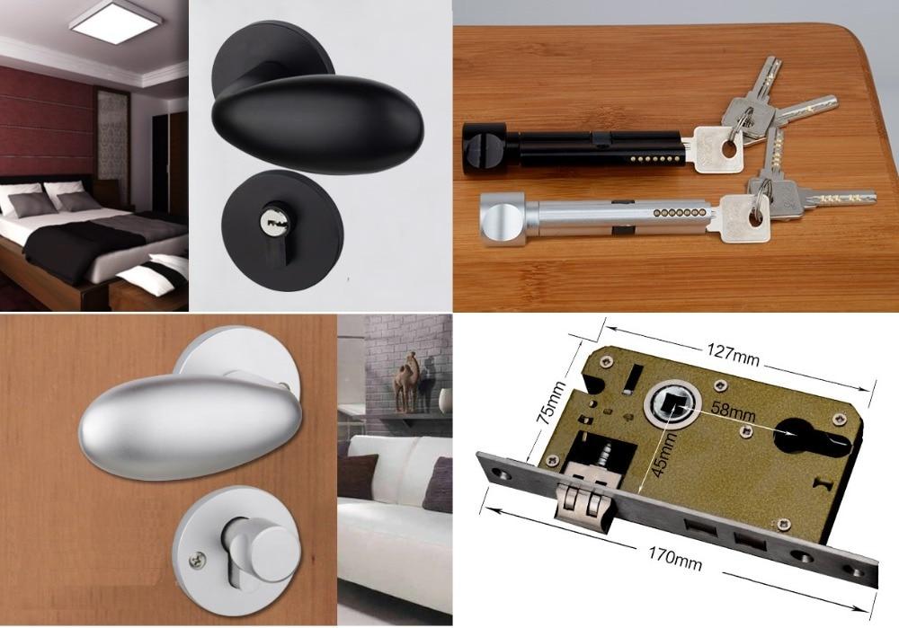 Premintehdw silver black mortise interior door lock set - Interior door privacy mortise lock ...