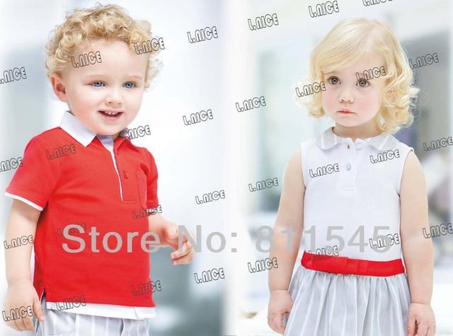 Случайные Летние Дети Одежды Наборы для Мальчиков Infantil Красный Футболка Голубой Полосой Брюки Способа Малышей Одежда для Новорожденных Детей Верхняя Одежда