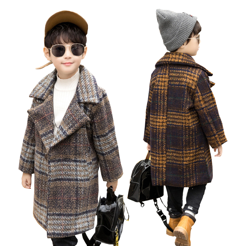 Teen Boys Wool Coats Winter Boys Clothes Plaid Jackets Children Clothing Outerwear 4-14 years Kids Jackets Boys Autumn Long Coat boys pu leather jacket boys coats autumn winter clothes 2017 children outerwear for clothing infant kids coat boy jackets