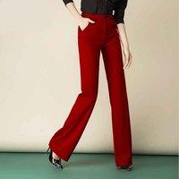 Women's Elegant Straight Long Suit Pants High Waist Office Lady OL Wide Leg Flare Pants Slim Trousers Plus Size 8XL Red Yellow