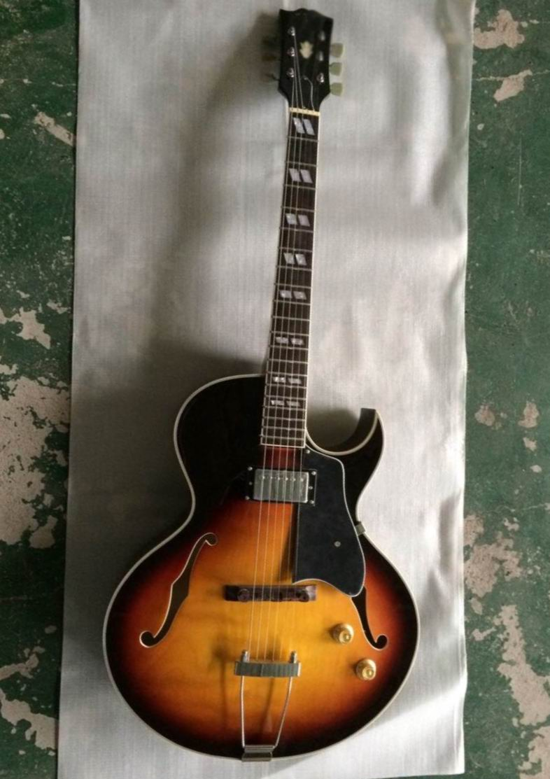 Free Shipping Chibson ES-175 Jazz Electric guitar one piece pick ups  L-5 ES175 semi hollow body in sunburst 150207 chibson lp custom small jazz electric guitar body ebony fingerboard with f hole semi hollow body in aged sunburst 110813