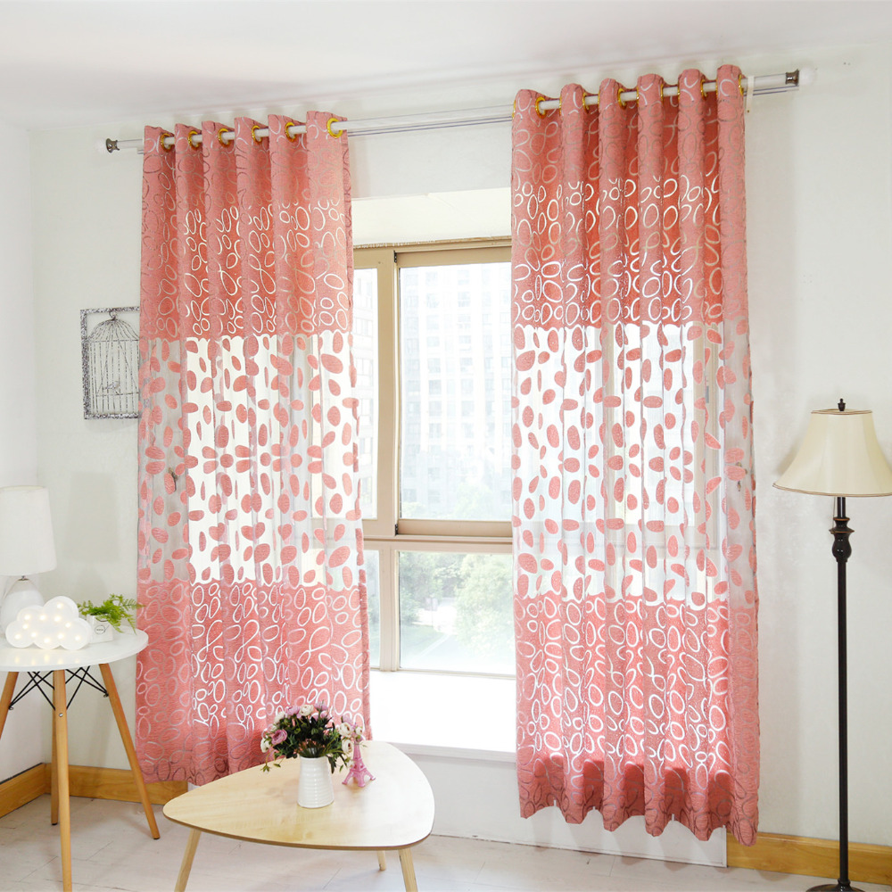 Latest morden fashion cute circle sheer window curtain for - Latest curtain design for living room ...