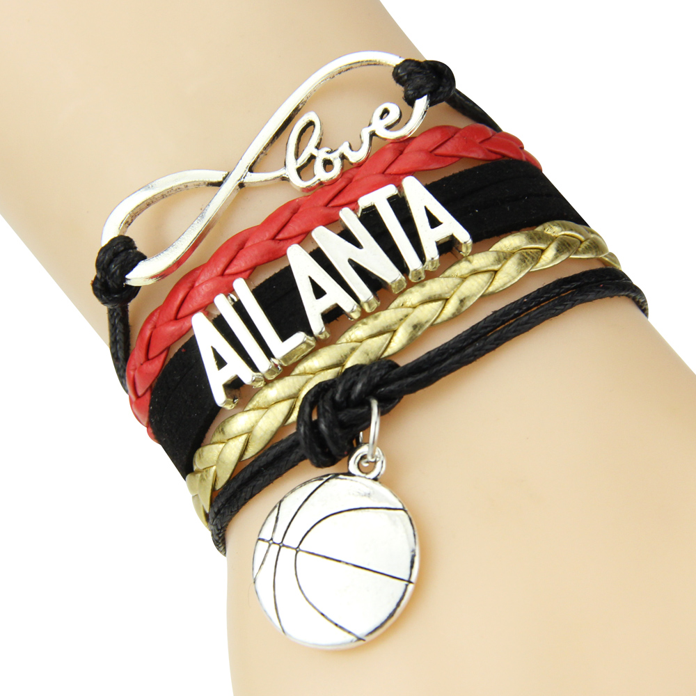 Infinity Love Atlanta Football Team Bracelet Black red golden Sports Fulfill