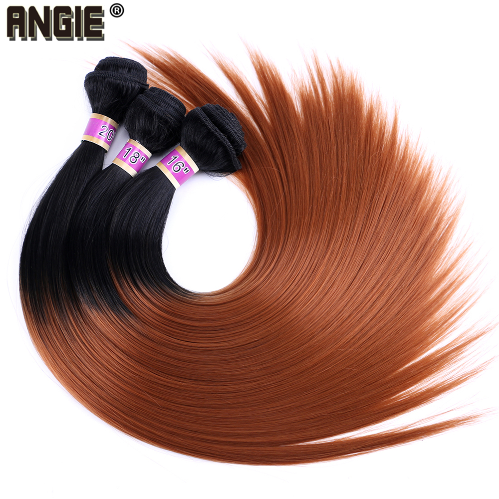 ANGIE 16 18 20 Inch Synthetic Hair Weave  Ombre Two Tone Hair Bundles Silky Straight  Hair Extensions 1 Piece
