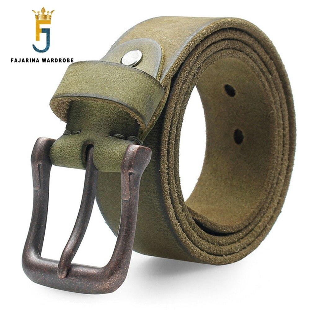 FAJARINA qualité Unique rétro Styles broches ceintures Jeans hommes pur vert véritable Geunine ceinture en cuir pour hommes 3.8 cm largeur N17FJ288