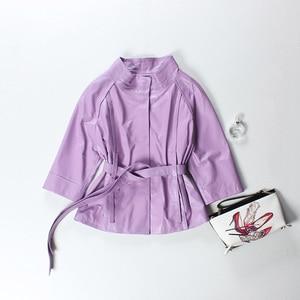 Image 3 - Vermelho jaqueta de couro genuíno feminino plus size real pele carneiro preto rosa roxo casaco de couro feminino outerwear