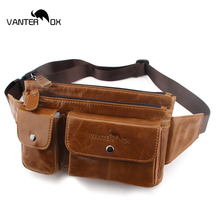 VANTER OX Genuine Leather Waist Packs Fanny Pack Belt Bag Phone Pouch Bags Travel Chest Male Small