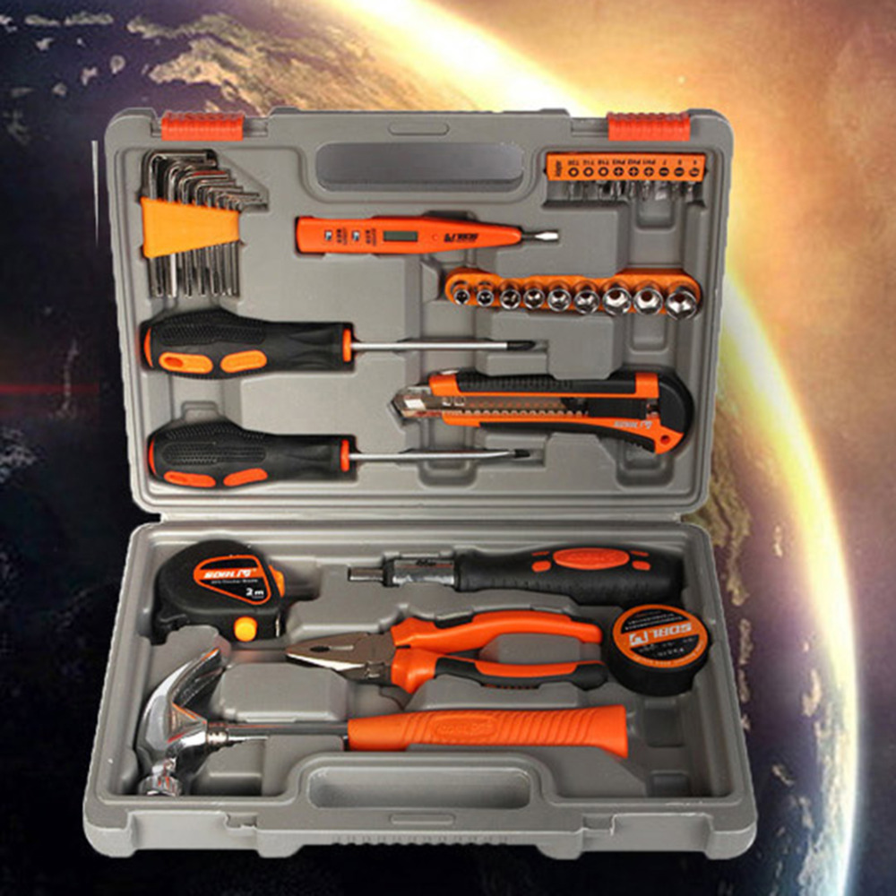 39 Pieces Mini Multi Purpose Mechanics Home Tool Set Kit In Tool Box Case Easy to Carry and Store  цены
