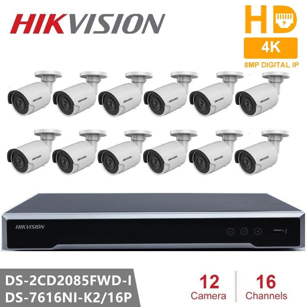 Kits de vigilancia Hikvision, Kit de NVR POE de red de Resolución de 8MP, sistema de seguridad CCTV, cámara infrarroja de visión nocturna de 8MP tipo bala para exteriores Micro cámara de vídeo CCTV inalámbrica para el hogar, Mini vigilancia de seguridad con Wifi, cámara IP, cámara para teléfono, cámara ipcámara con Sensor de movimiento Wai Fi
