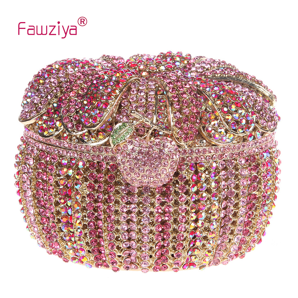 Fawziya Bag Girl Pumpkin Box Clutch Rhinestone Purses And Handbags For Women fawziya apple clutch purses for women rhinestone clutch evening bag