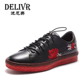 Delivr Men Sneakers Luxury Brand Genuine Leather 2019 Fashion Black Embroidery Sneaker Men Luxury Mans Shoes Men's Leather Shoes
