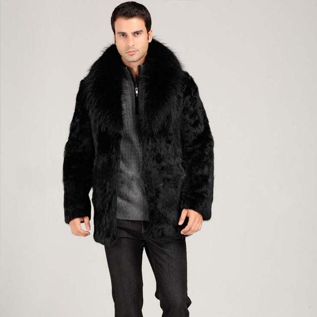 men faux mink fur coat fox fur collar warm fur coat black color casual male overcoat winter clothes 2016 new