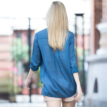 Veri Gude Women Loose Blouse Casual Style Shirt Chest Pockets Strapless Included Women Long Style Solid Shirt 3 Color for Chose