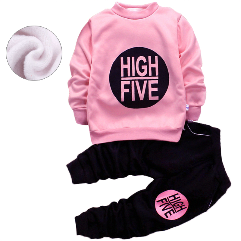 New Autumn Winter Baby Boys Girls Clothes thick letter Printing Sweater+Pants Kids Sport Suit For Girls Clothing Sets 1-5yrs cartoon black kids clothes boys clothes sets for autumn baby girls clothing set sweater and pants children s sport suits retail