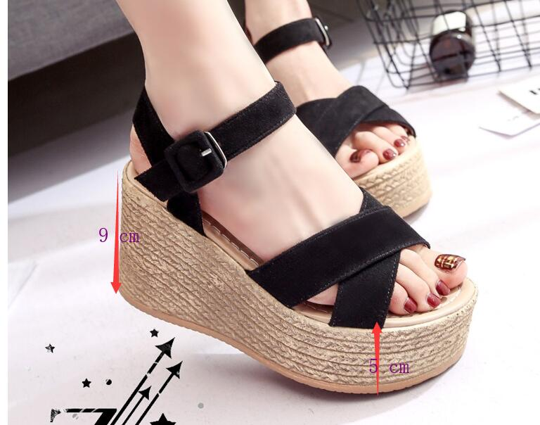 HTB1YHJZiH1YBuNjSszhq6AUsFXaa Summer Buckle Women's Sandals Velvet Flock Fish Mouth Fashion high Heel Platform Open Toes Women Sandals Shoes Drop Shipping