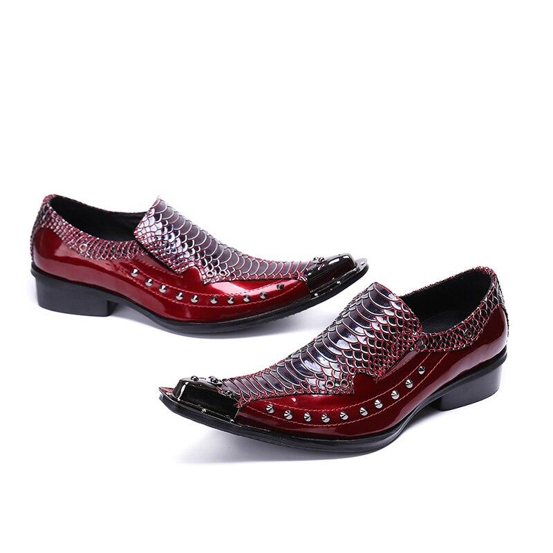 Dress As Homme Chaussure Homens Studded Em Couro Casual Rebites Shoes De as Pic Oxford Negócios Formal Para Pic Sapatas Deslizamento Deificação Luxo Sapatos WUtxZHY77q