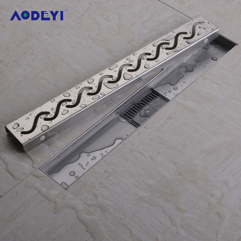 AODEYI Linear Shower Floor Drains Grates & Curved Flange 50-100cm 304 Stainless Steel Shower Floor Drain Bathroom Gate Drain luxury 304 stainless steel bathroom drains rectangle deodorization type bathroom linear shower floor drain srainer 600mm x 67mm