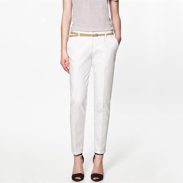 Verão primavera & Outono Excelente Qualidade Elegantes Calças Moda Feminina Lápis, mulheres Calças Com Cinto