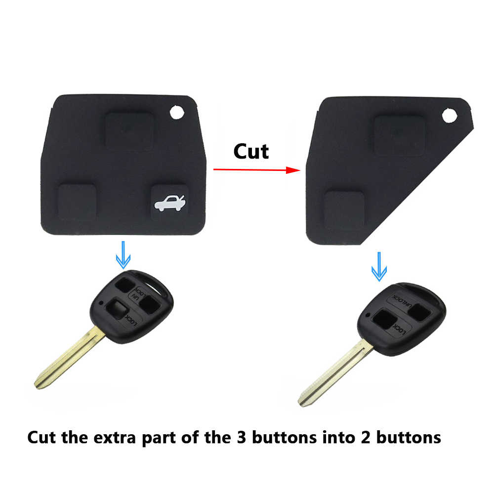 Okeytech Siliconen Reparatie Kit Rubber Pad 2/3 Knoppen Vervanging Remote Key Fob Voor Toyota RAV4 Corolla Avensis Camry Prado Lexus