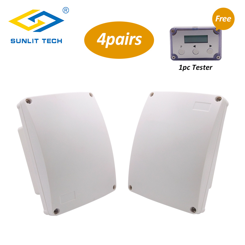 4 Pairs Wired Dual Microwave Infrared Beam Waterproof Motion Sensor Intrusion Detector Automatic Outdoor Perimeter Alarm Sensor 1pair outdoor 150 meters wired microwave perimeter barrier beam with lcd tester free shipping