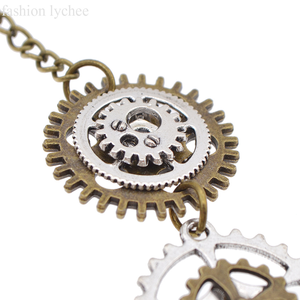 clockwork watch silver gold movement pearl moving gear jewelry pendant statement necklace steampunk