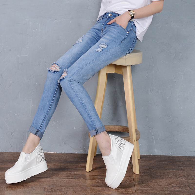 Cool Jeans Women Skinny Ripped Jeans Denim Trousers Fashion Pencil Jeans