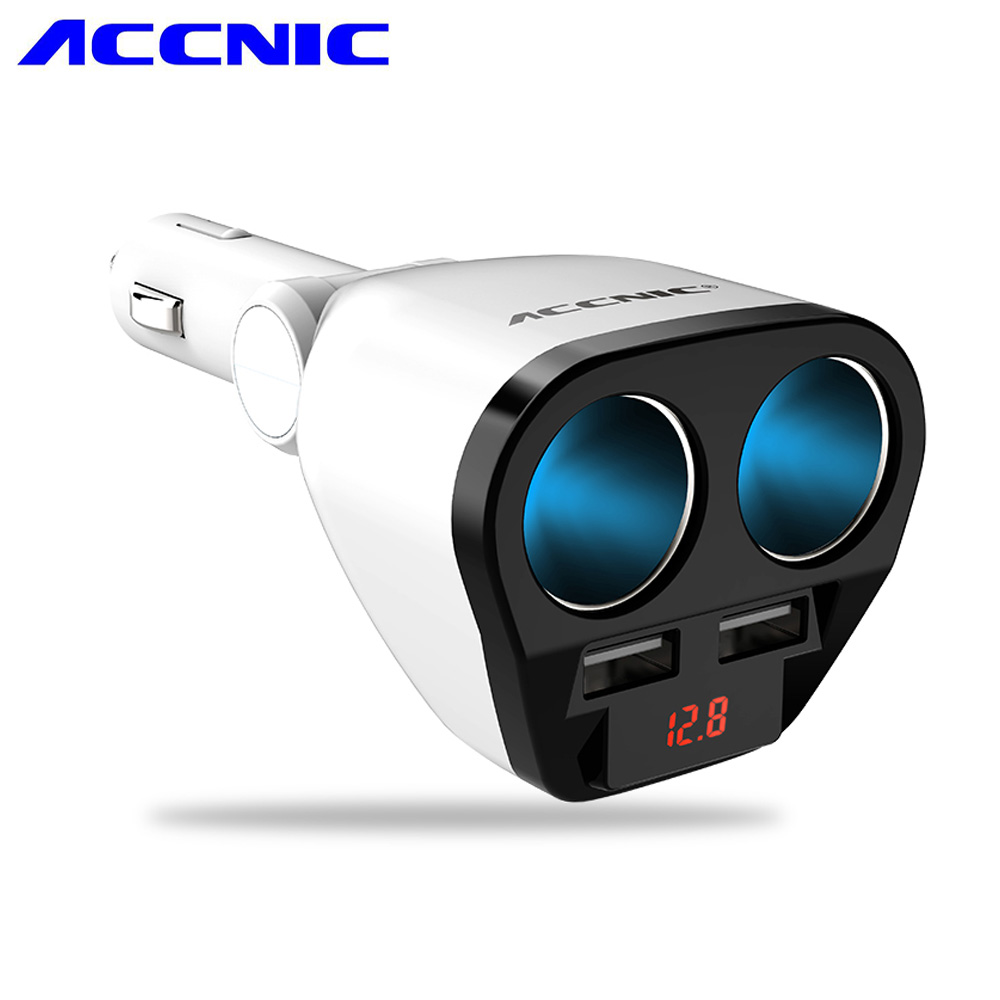 ACCNIC 12V/24V 120W Auto Car USB Car Cigarette Lighter Adapter Socket Splitter Converter 5V 1A/2.4A Car Voltage Diagnose Display