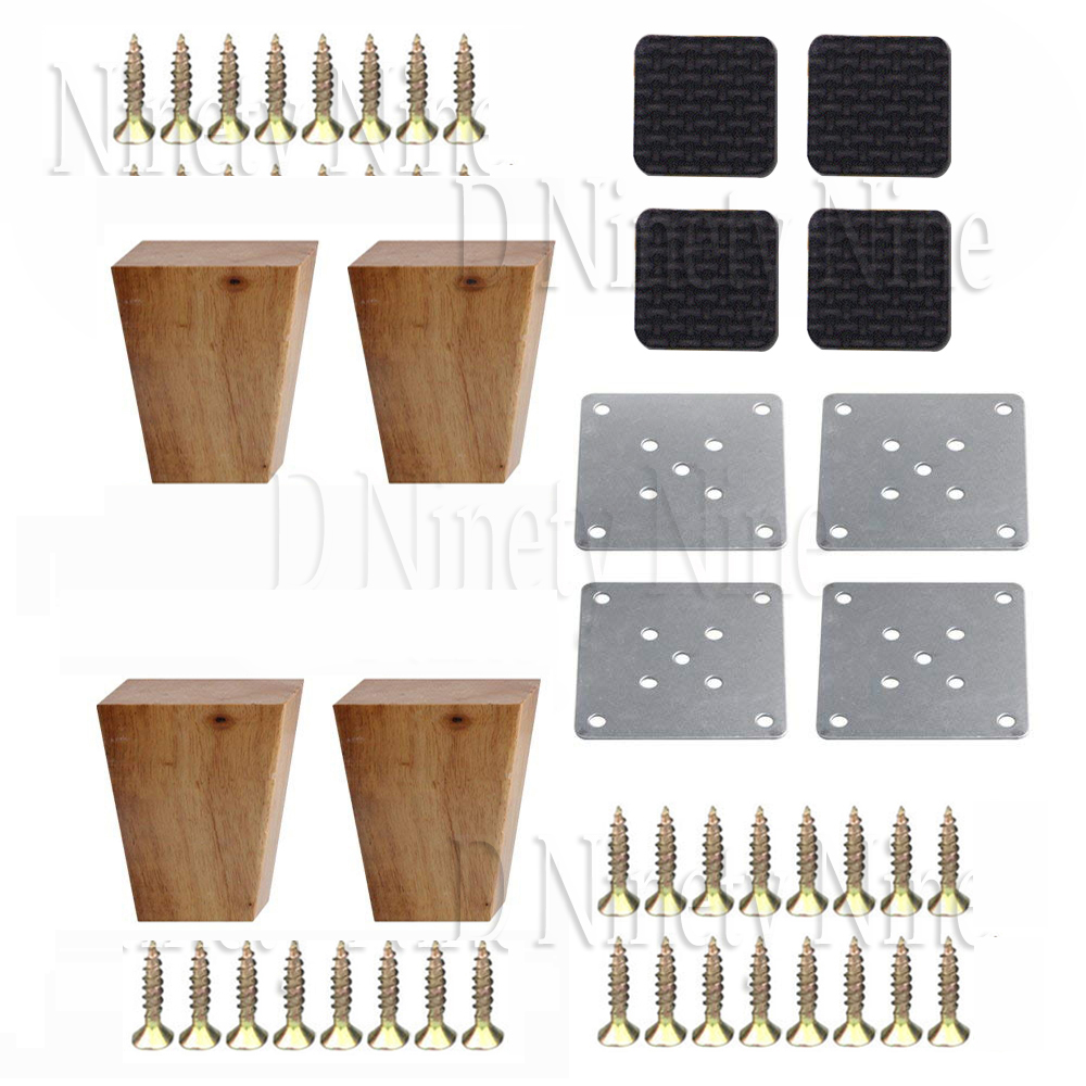 Oak Wood 80x58x38MM Wooden Furniture Cabinet Leg Right Angle Trapezoid Feet Lifter Replacement For Sofa Table Bed 1 Set Of 4