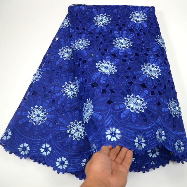 Plain Royal blue Handcut organza Lace African fabric with big holes Beads  stones high quality For